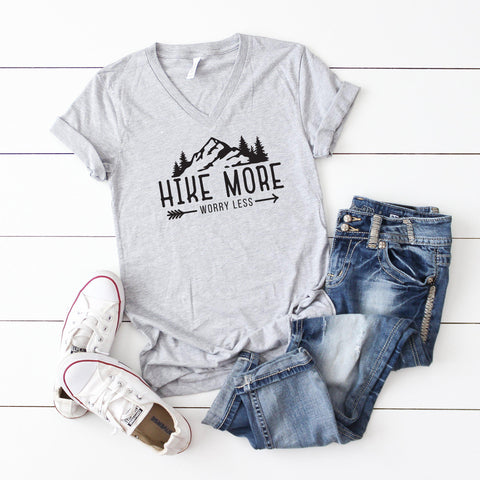 Hike more Worry less | V-Neck Graphic Tee