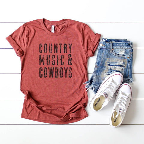 Country Music and Cowboys | Short Sleeve Graphic Tee