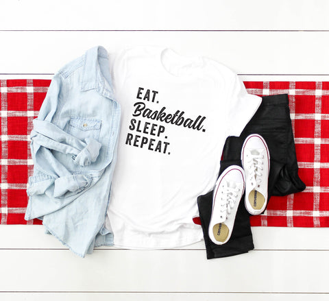 Eat Basketball Sleep Repeat | Short Sleeve Graphic Tee