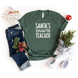 Santa's Favorite Teacher | Short Sleeve Graphic Tee