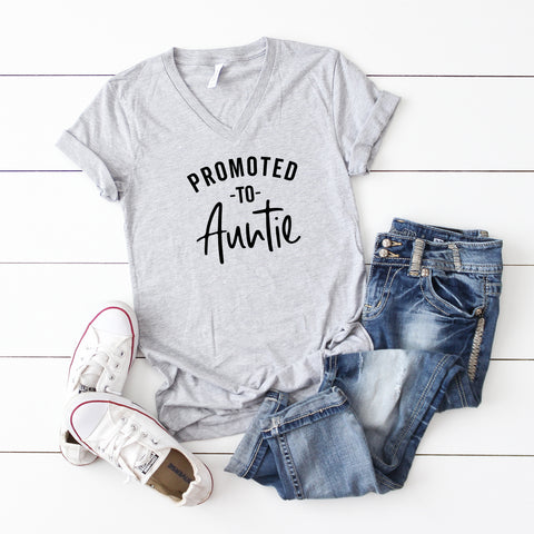Promoted to Auntie | V-Neck Graphic Tee