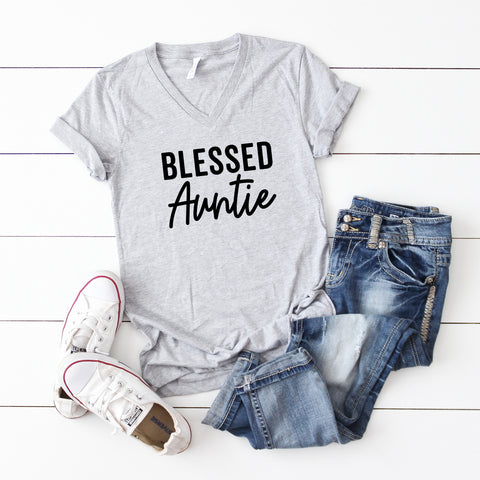 Blessed Auntie | V-Neck Graphic Tee