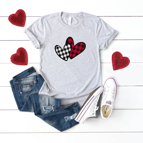 Buffalo Plaid Hearts | Short Sleeve Graphic Tee