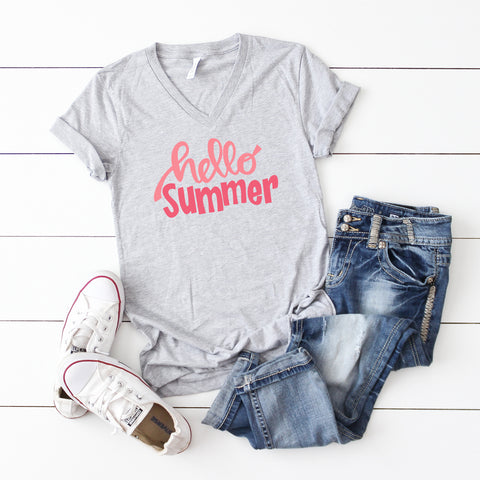 Hello Summer | V-Neck Graphic Tee