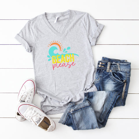 Beach Please | V-Neck Graphic Tee