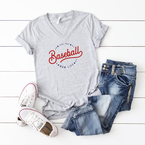 Livin' That Baseball Mom Life | V- Neck Graphic Tee