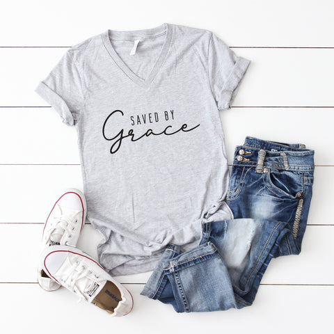 Saved By Grace | V-Neck Graphic Tee