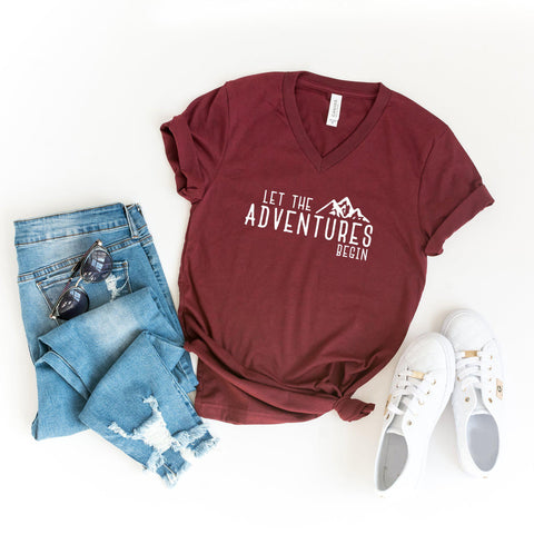 Let the Adventures Begin | V-Neck Graphic Tee
