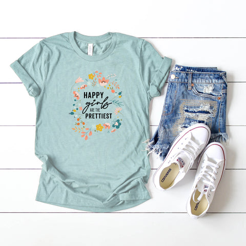 Happy Girls are the Prettiest | Short Sleeve Graphic Tee