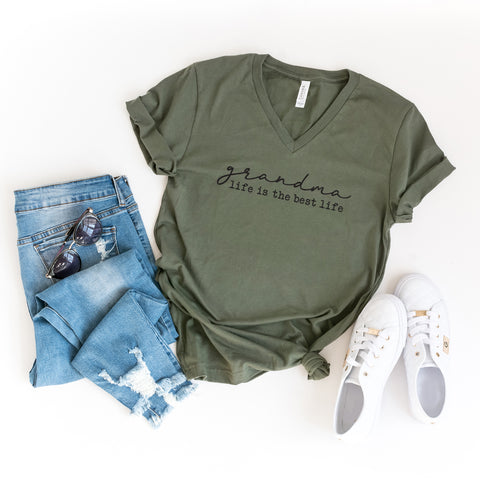 Grandma Life is the Best Life | V-Neck Graphic Tee