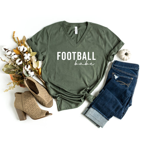Football Babe | V-Neck Graphic Tee