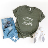 Happiness is Being An Auntie | V-Neck Graphic Tee