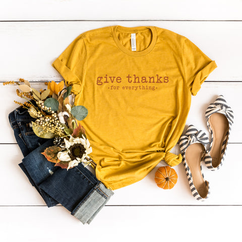 Give Thanks for Everything Colorful Typewriter | Short Sleeve Graphic Tee