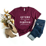 Autumn Leaves and Pumpkins Please | V-Neck Graphic Tee