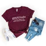 Gratitude Turns What We Have Into Enough - Typewriter | V-Neck Graphic Tee