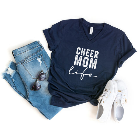 Cheer Mom Life | V-Neck Graphic Tee