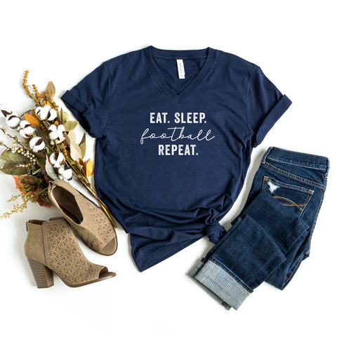 Eat Sleep Football Repeat | V-Neck Graphic Tee