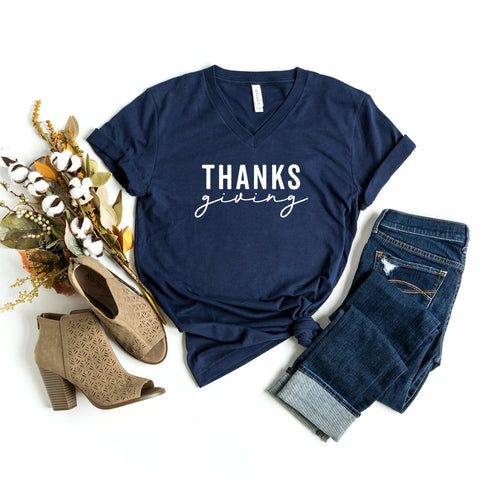 Thanks Giving | V-Neck Graphic Tee