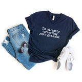 I'm Silently Correcting Your Grammar  | V-Neck Graphic Tee
