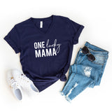 One Lucky Mama | V-Neck Graphic Tee