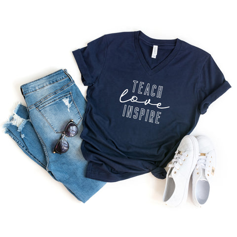 Teach Love Inspire | V-Neck Graphic Tee