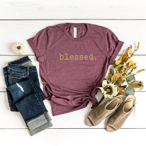 Blessed Colorful Typewriter | Short Sleeve Graphic Tee