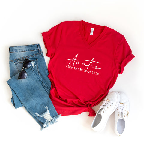 Auntie Life is the Best Life | V-Neck Graphic Tee