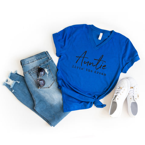 Auntie Livin' the Dream | V-Neck Graphic Tee
