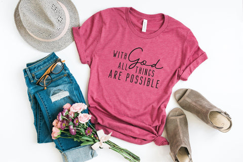 With God all Things are Possible | Short Sleeve Graphic Tee