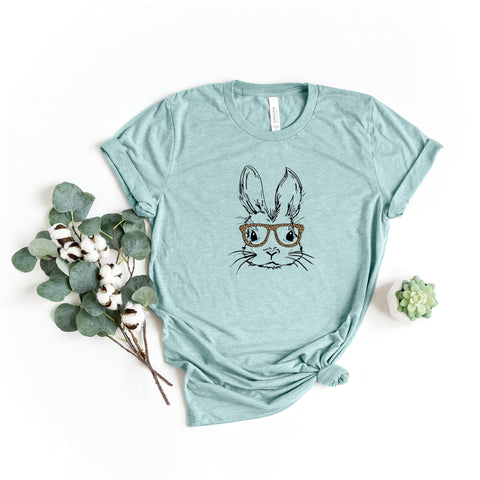 Bunny with Leopard Glasses | Short Sleeve Graphic Tee