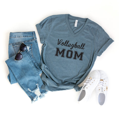 Volleyball Mom | V-Neck Graphic Tee