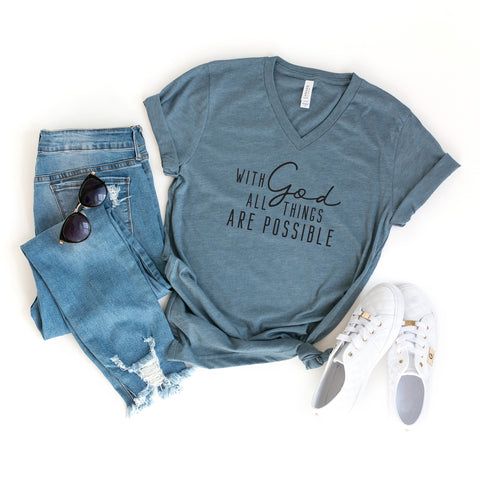 With God All Things Are Possible | V-Neck Graphic Tee