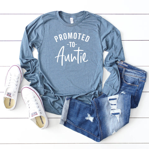 Promoted To Auntie | Long Sleeve Graphic Tee