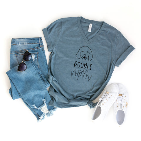 Doodle Mom | V-Neck Graphic Tee