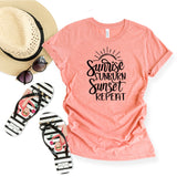 Sunrise Sunburn Sunset Repeat - Cursive| Short Sleeve Tee