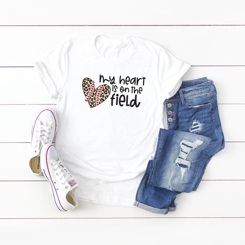 My Heart is on the Field Leopard | Short Sleeve Graphic Tee