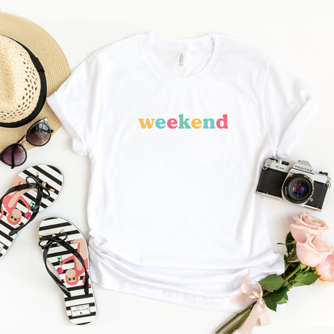 Weekend - Colorful Words | Short Sleeve Graphic Tee