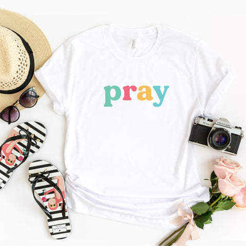 Pray - Colorful Words | Short Sleeve Graphic Tee