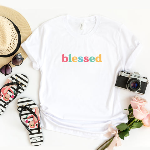 Blessed - Colorful Words | Short Sleeve Graphic Tee