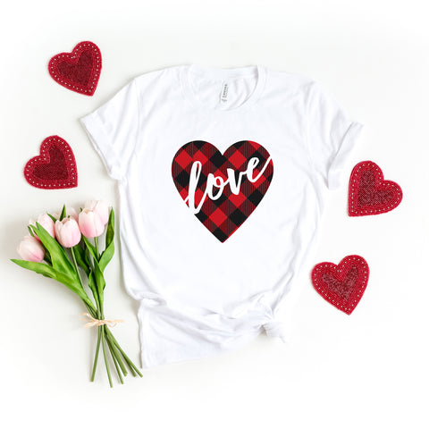 Buffalo Plaid Love Heart | Short Sleeve Graphic Tee