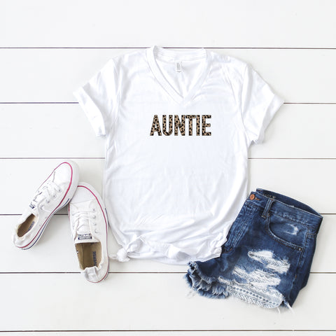 Auntie - Leopard | V-Neck Graphic Tee