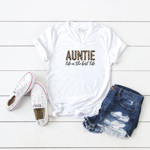 Auntie Life is the Best Life - Leopard | V-Neck Graphic Tee
