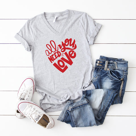 All You Need Is Love | V-Neck Graphic Tee