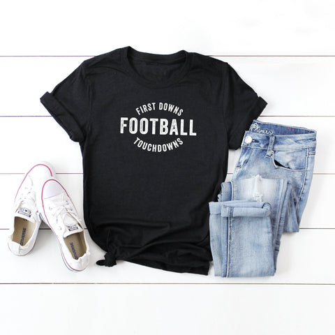 First Downs. Football. Touch Down | Short Sleeve Graphic Tee