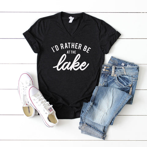 I'd Rather be at the Lake | V-Neck Graphic Tee