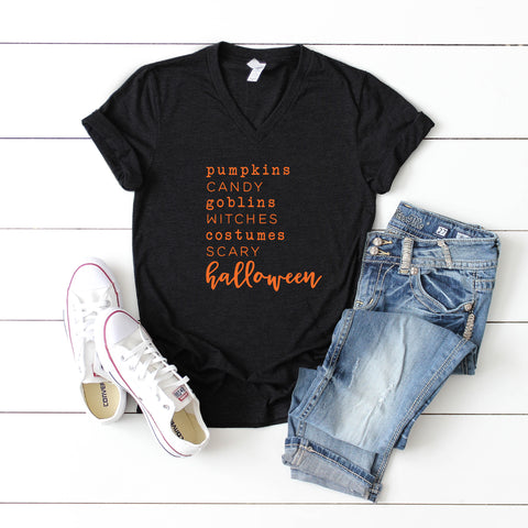 Halloween Words | V-Neck Graphic Tee