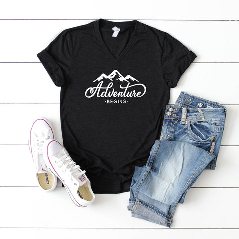 Adventure Begins | V-Neck Graphic Tee