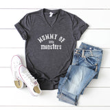 Mummy Of Little Monsters | V-Neck Graphic Tee