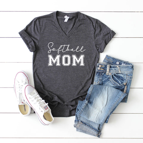Softball Mom | V-Neck Graphic Tee
