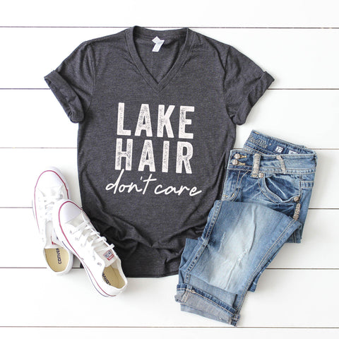 Lake Hair Don't Care | V-Neck Graphic Tee